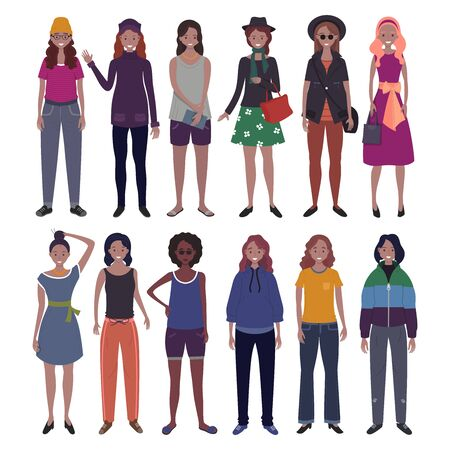 Set of women dressed in trendy casual clothes. Flat cartoon vector illustration.