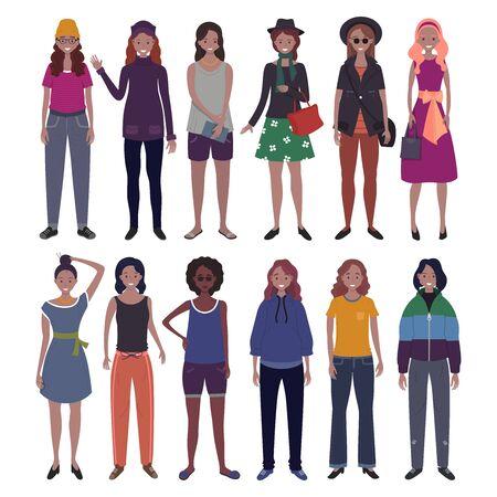 Set of women dressed in trendy casual clothes. Flat cartoon vector illustration. Banco de Imagens - 127982850
