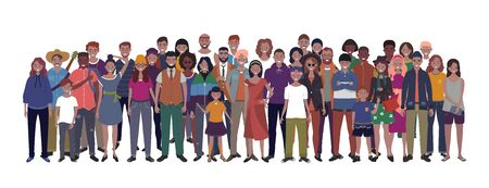Multinational group of people isolated on white background. Children, adults and teenagers stand together. Vector illustration Banco de Imagens - 127982861