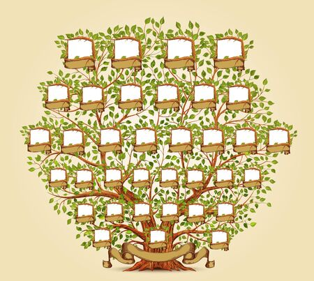 Family Tree template illustration Banco de Imagens