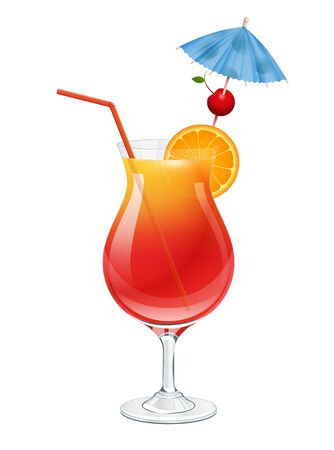 Tequila sunrise cocktail on white background vector illustration