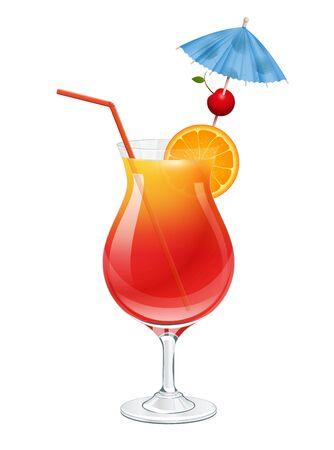 Tequila sunrise cocktail on white background vector illustration