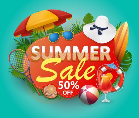 Summer sale vector banner design for promotion