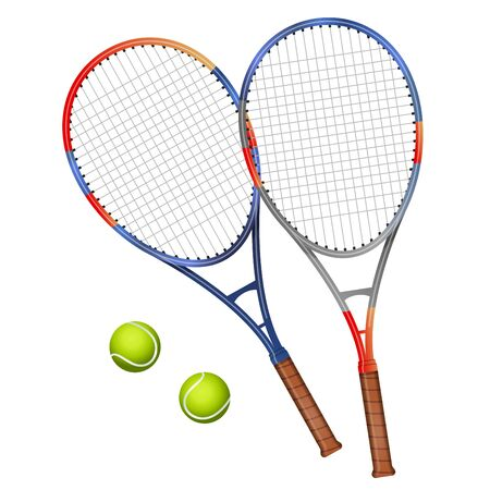 Two tennis rackets and two balls vector illustration