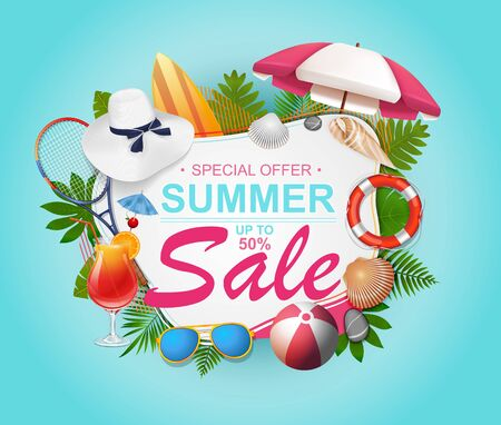 Summer sale banner design for promotion with palm leaves and colorful beach elements vector illustration