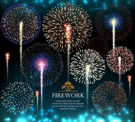 Conjunto de fuegos artificiales, invitación a unas vacaciones. Ilustración vectorial Ilustración de vector