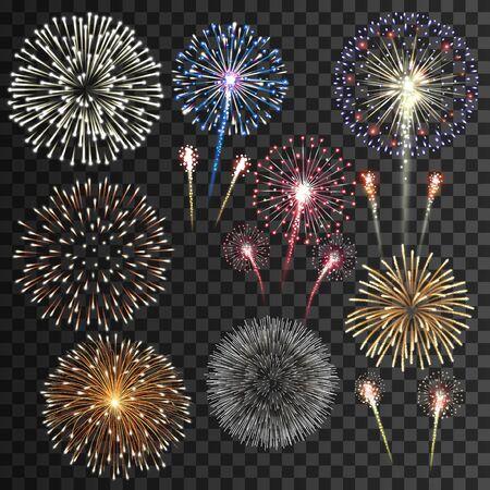 Grande set di illustrazione vettoriale di fuochi d'artificio isolati