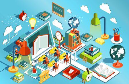 Conception plate isométrique de l'éducation en ligne. Le concept d'apprentissage et de lecture de livres à la bibliothèque et en classe. Études universitaires. Illustration vectorielle
