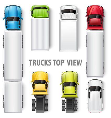 Vue de dessus des camions. Illustration vectorielle Vecteurs