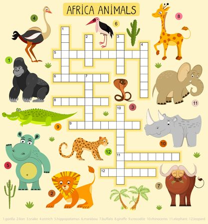 African animals vector crossword for children. Illustration of lion and leopard, elephant and gorilla.