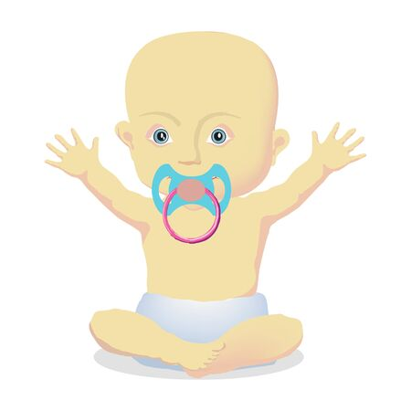 Little baby with a pacifier sitting vector illustration