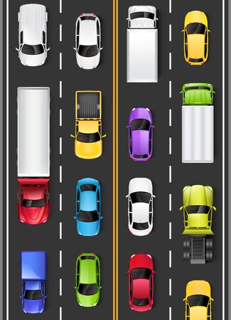 Top view of cars and trucks on the road. Driving on the highway. Vector illustration 版權商用圖片 - 143518356