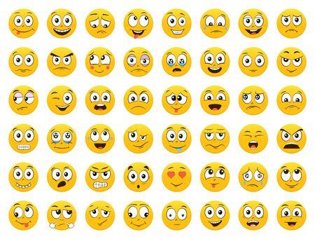 Set van emoticons. Emoji. Glimlach pictogrammen. Geïsoleerde vectorillustratie op witte achtergrond