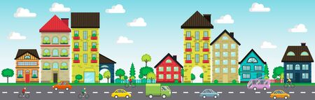 Colorful houses on the street with cars and cyclist vector illustration