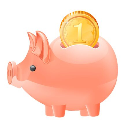 Piggy bank and coin icon isolated vector illustration