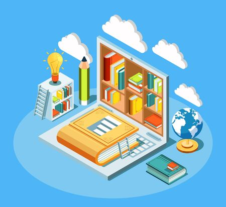 Isometric online education composition with laptop and books. Electronic library and cloud computing concept vector illustration 일러스트