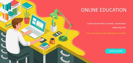 Learning online at home. Student sitting at desk and looking at laptop. E-learning banner. Web courses or tutorials concept. Distance education flat isometric vector illustration. 일러스트