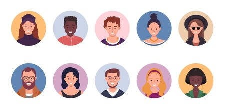 People avatar bundle set. User portraits. Different human face icons. Male and female characters. Smiling men and women characters. Flat cartoon style vector illustration