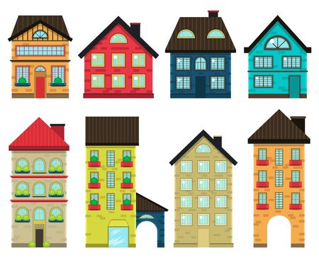 Illustration set colorful houses front view vector