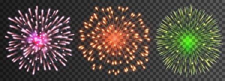 Set of isolated vector fireworks Иллюстрация