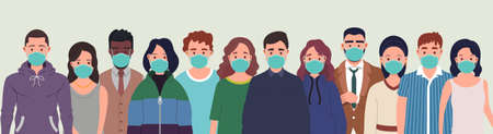 Group of people wearing protective medical masks for protection from virus. Prevention and safety procedures concept. Flat style vector illustration 向量圖像