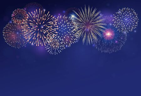 Fireworks on twilight background vector illustration. Bright salute explosion with gradient glowing effect isolated on dark blue. 向量圖像