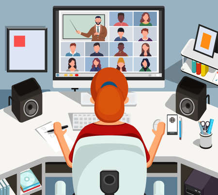Girl watching lesson online and studying sitting at her desk at home. Young student taking notes while looking at computer screen. Video conference call on laptop. Distance education concept vector illustration.