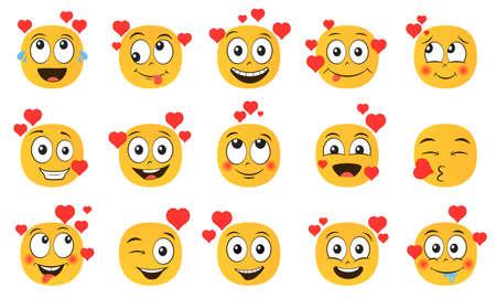 Emoticons in love set. Collection of yellow cartoon emoji with hearts isolated on white background. Vector illustration 向量圖像