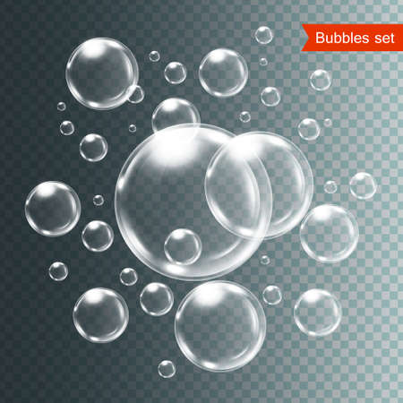 Set of bubbles under water isolated vector illustration on transparent background. 向量圖像