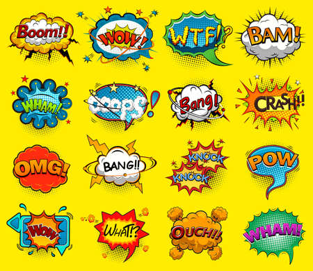 Comic speech bubbles screams, phrases, sounds vector illustration