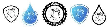 Hand sanitizer label with shield and water drop logo. Vector antiseptic symbols. Medical antibacterial alcohol hand wash. Healthy safe product package tag. Disease prevention.