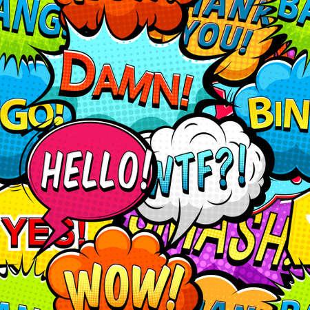 Multicolored comics speech bubbles seamless pattern vector Ilustración de vector