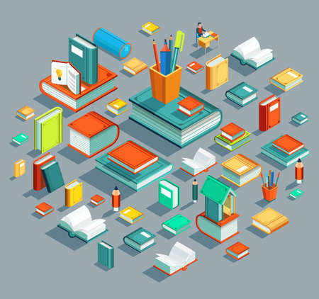Education Isometric flat design. The concept of learning and reading books in the library and in the classroom. University studies. Vector illustration