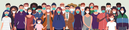 Group of people wearing protective medical masks for protection from virus. Prevention and safety procedures concept. Flat style vector illustration Ilustração