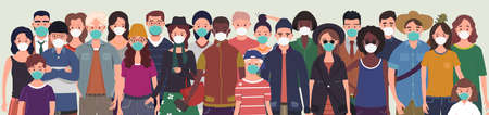 Group of people wearing protective medical masks for protection from virus. Prevention and safety procedures concept. Flat style vector illustration Ilustracja
