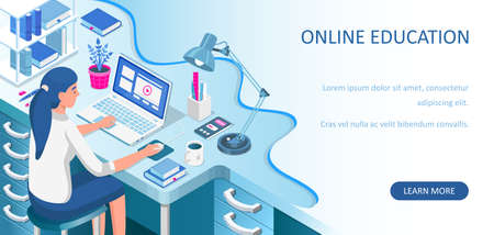 Learning online at home. Student sitting at desk and looking at laptop. E-learning banner. Web courses or tutorials concept. Distance education flat isometric vector illustration. Ilustração
