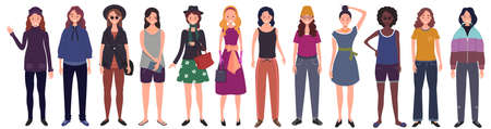 Set of women dressed in trendy casual clothes. Flat cartoon vector illustration Ilustração