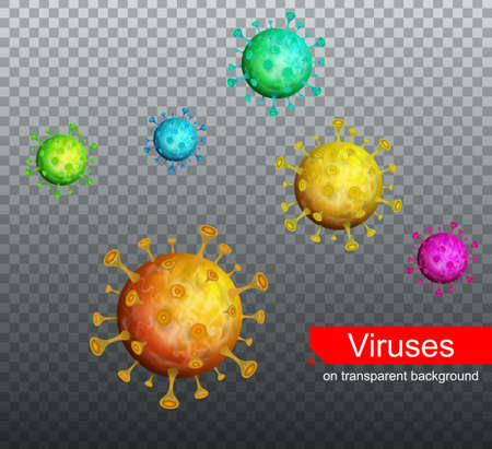 Coronavirus Covid-19 on transparent background. Virus cell 3D Realistic vector illustration