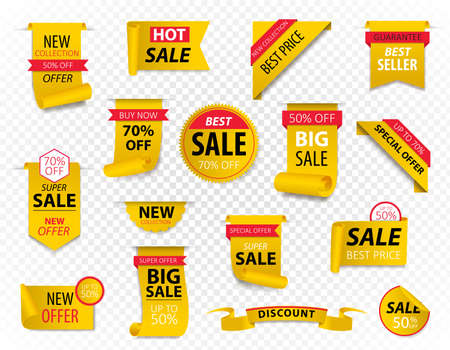 Price tags, yellow ribbon banners. Sale promotion, website stickers, new offer badge collection isolated. Vector illustration.