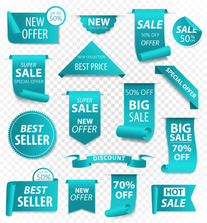 Price tags, ribbon banners. Sale promotion, website stickers, new offer badge collection isolated. Vector illustration.