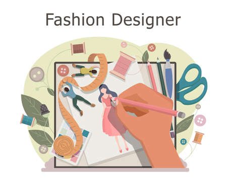 Fashion designer makes a sketch of clothes. Designing new collection in sewing studio. Clothing design concept. Creative atelier profession. Vector illustration