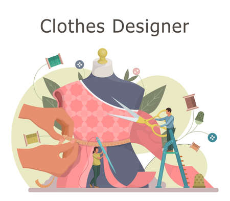 Fashion or clothes designer concept. Tiny tailor masters sewing clothes and working with a mannequin. Flat style vector illustration.