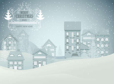 Winter city night landscape. Christmas and New Year concept for greeting card. Vector illustration. Ilustracja