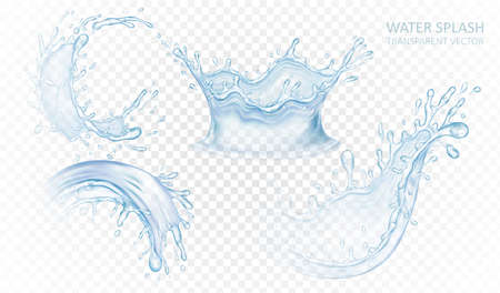 Realistic water splash set isolated on light transparent background. Blue liquid waves. Vector illustration design.