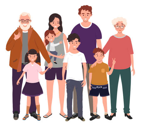 Big happy family together. Father, mother, grandfather, grandmother and children. Vector illustration