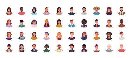 Set of various people avatars vector illustration. Multiethnic user portraits. Different human face icons. Male and female characters. Smiling men and women. Illusztráció