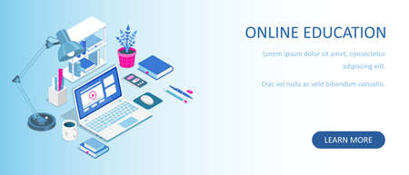 Learning online at home. Isometric composition with laptop and books. E-learning banner. Web courses or tutorials concept. Distance education flat vector illustration.