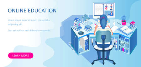 Learning online at home. Student sitting at desk and looking at computer monitor. E-learning banner. Web courses or tutorials concept. Distance education flat isometric vector illustration.