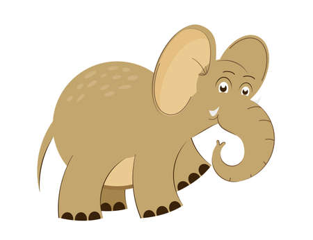 Cute baby elephant in cartoon style. Design of children's clothing, toys, school supplies. Vector illustration