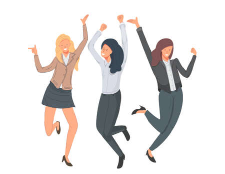 Group of happy women jumping for joy vector illustration. Business women celebrating victory.